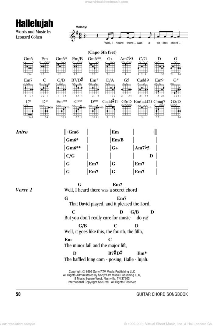 Hallelujah sheet music for guitar (chords) by Leonard Cohen, intermediate skill level