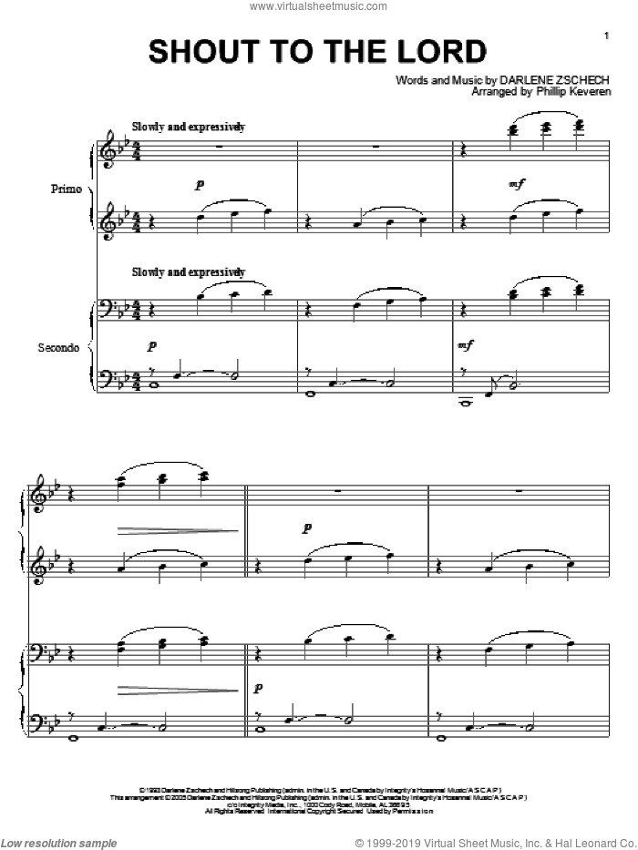 Shout To The Lord sheet music for piano four hands by Carman, Phillip Keveren and Darlene Zschech, intermediate skill level