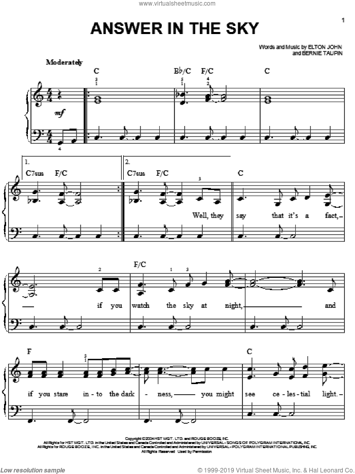 Answer In The Sky sheet music for piano solo by Elton John and Bernie Taupin, easy skill level