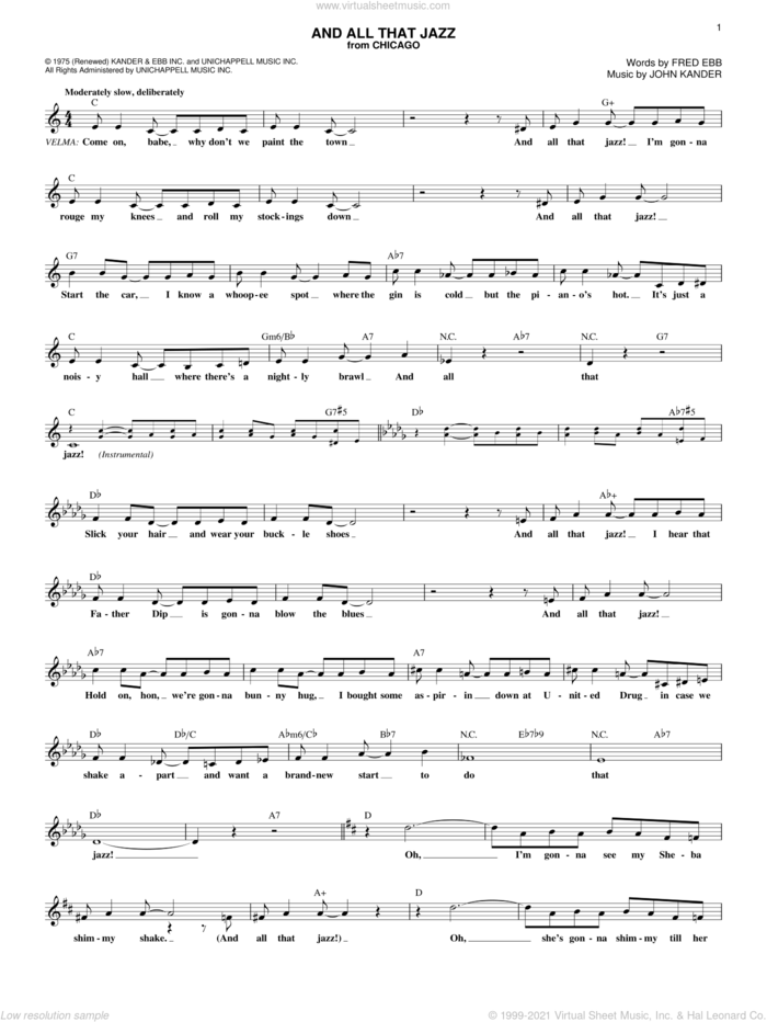 And All That Jazz sheet music for voice and other instruments (fake book) by Kander & Ebb, Chicago (Musical), Fred Ebb and John Kander, intermediate skill level