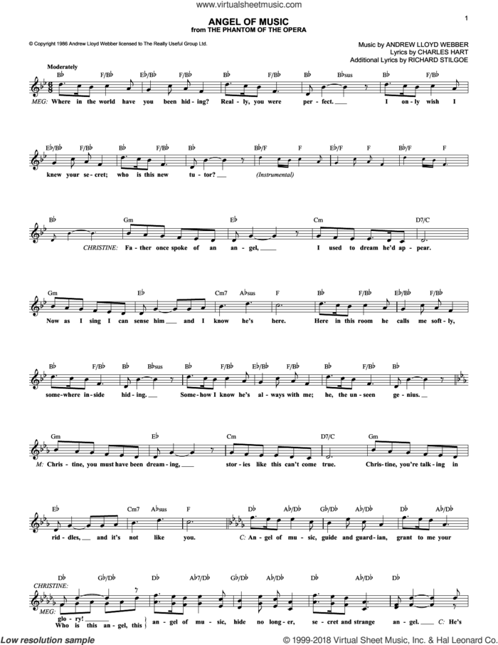 Angel Of Music (from The Phantom Of The Opera) sheet music for voice and other instruments (fake book) by Andrew Lloyd Webber, The Phantom Of The Opera (Musical), Charles Hart and Richard Stilgoe, intermediate skill level