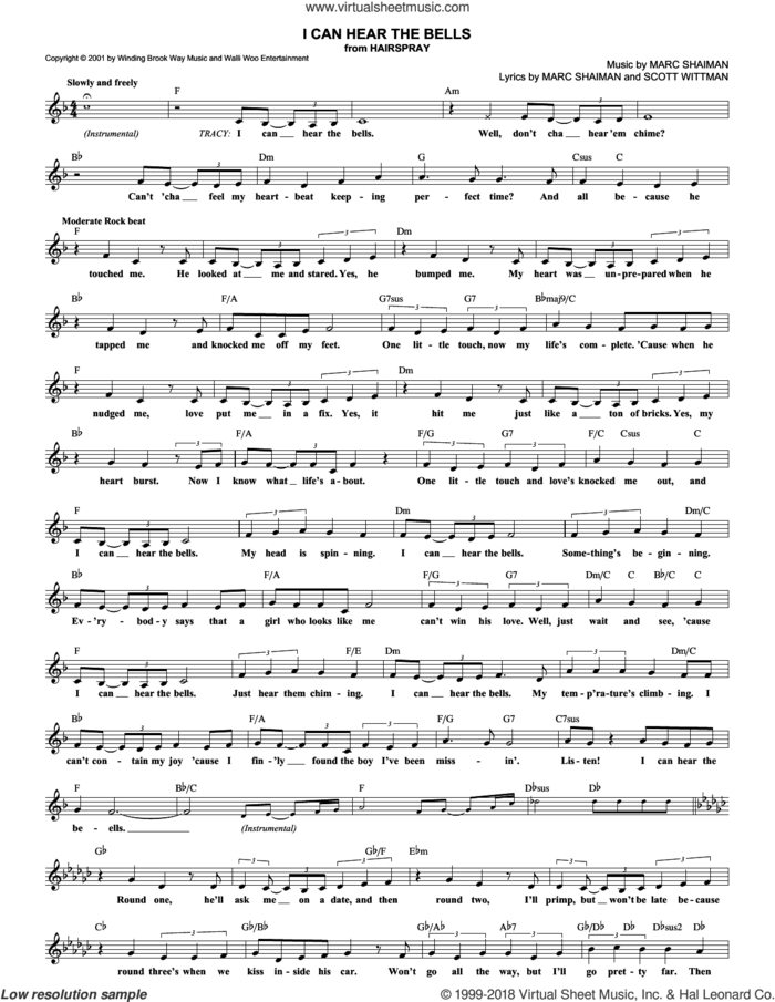 I Can Hear The Bells sheet music for voice and other instruments (fake book) by Marc Shaiman, Hairspray (Musical) and Scott Wittman, intermediate skill level