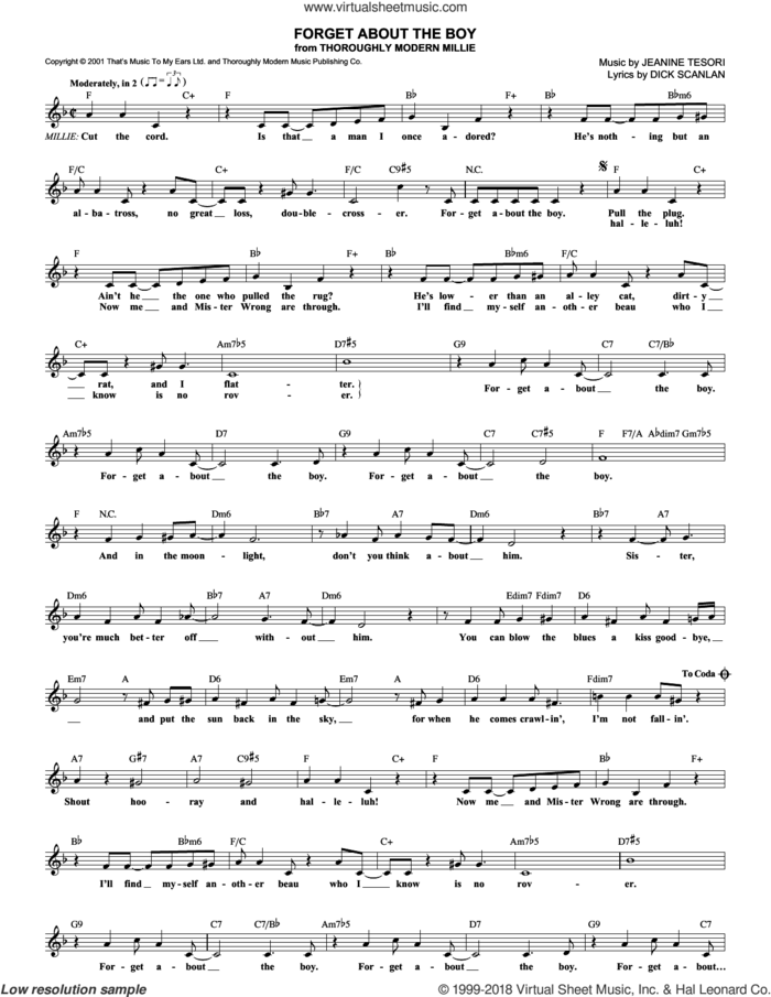 Forget About The Boy sheet music for voice and other instruments (fake book) by Dick Scanlan, Thoroughly Modern Millie (Musical) and Jeanine Tesori, intermediate skill level