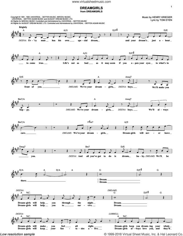 Dreamgirls sheet music for voice and other instruments (fake book) by Tom Eyen, Dreamgirls (Musical) and Henry Krieger, intermediate skill level