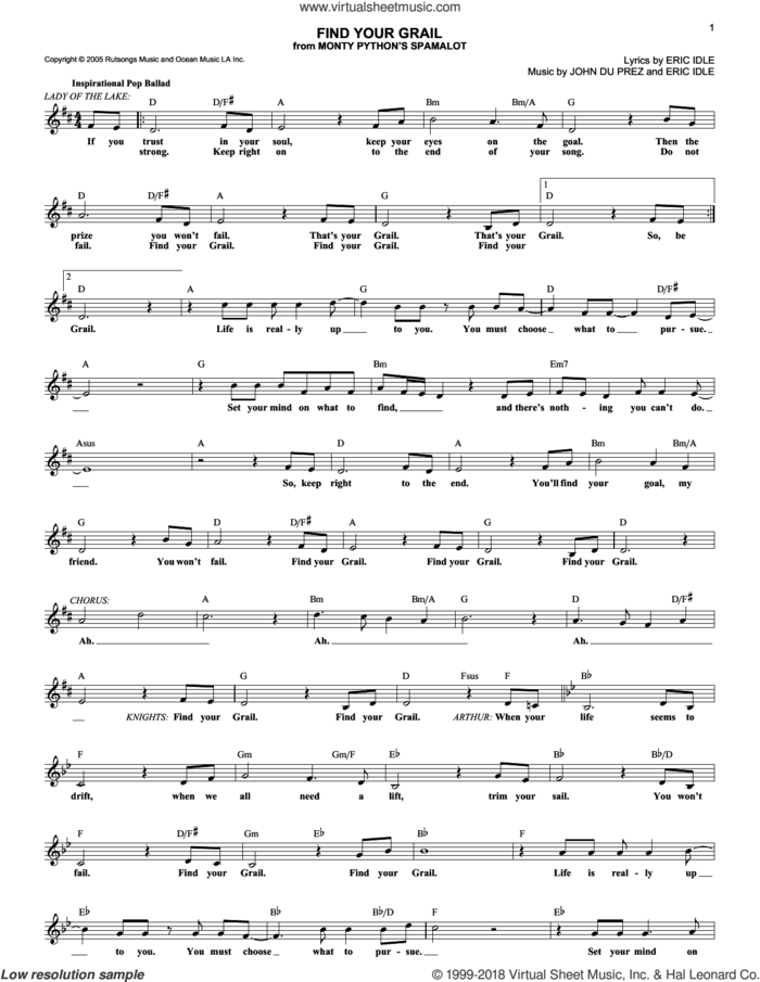 Find Your Grail sheet music for voice and other instruments (fake book) by Monty Python's Spamalot, Eric Idle and John Du Prez, intermediate skill level