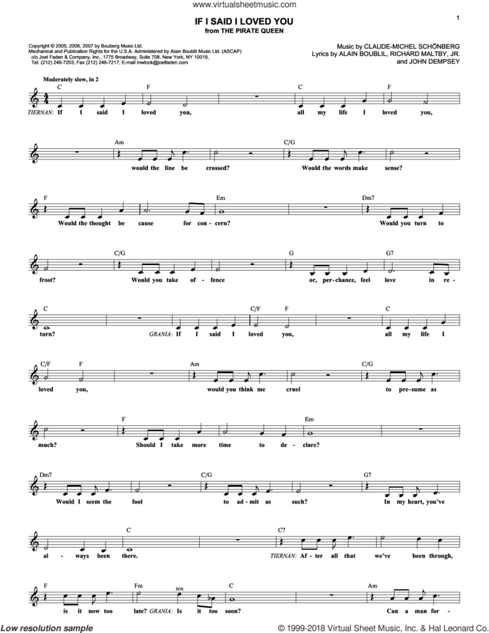 If I Said I Loved You (from The Pirate Queen) sheet music for voice and other instruments (fake book) by Claude-Michel Schonberg, The Pirate Queen (Musical), Alain Boublil, Boublil and Schonberg, John Dempsey and Richard Maltby, Jr., intermediate skill level