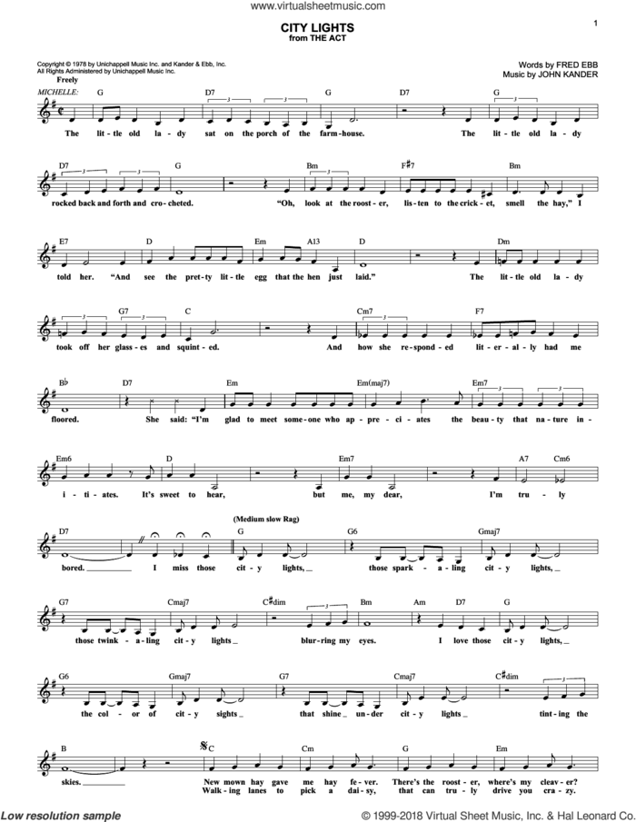 City Lights (from The Act) sheet music for voice and other instruments (fake book) by Kander & Ebb, Fred Ebb and John Kander, intermediate skill level
