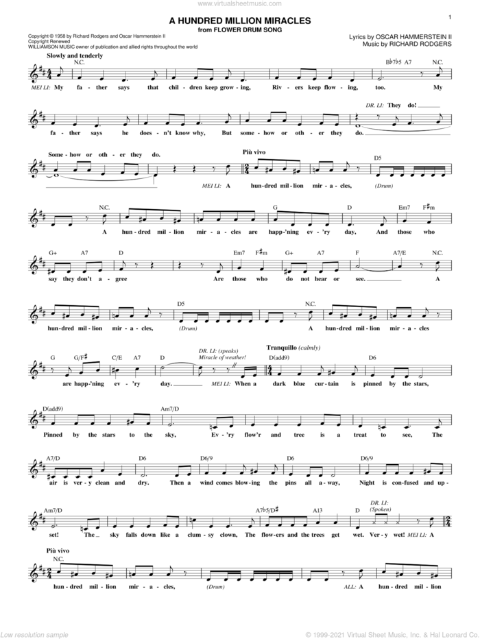 A Hundred Million Miracles sheet music for voice and other instruments (fake book) by Rodgers & Hammerstein, Flower Drum Song (Musical), Oscar II Hammerstein and Richard Rodgers, intermediate skill level