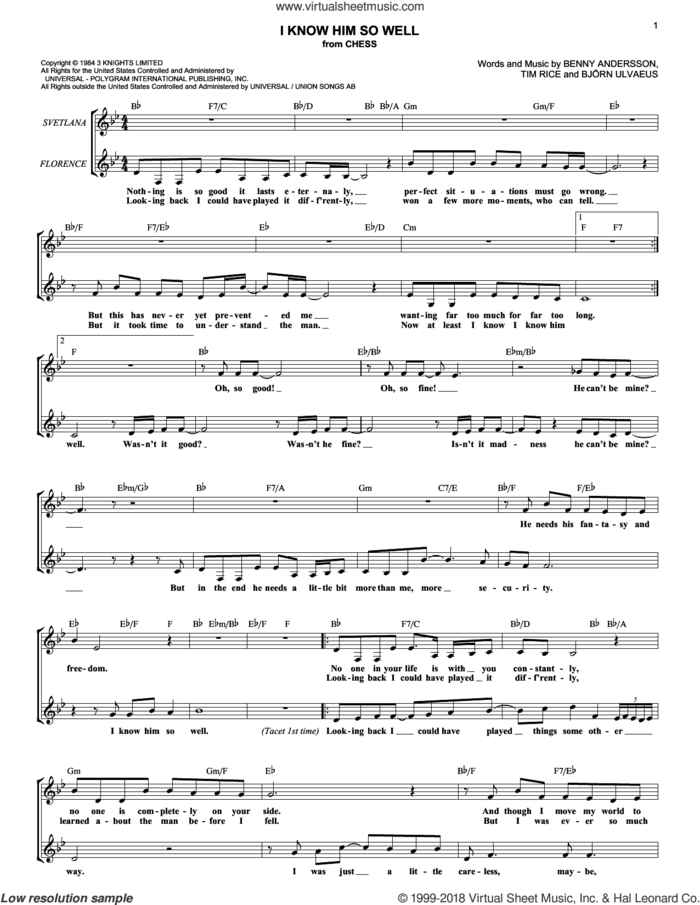 I Know Him So Well (from Chess) sheet music for voice and other instruments (fake book) by Tim Rice, Chess (Musical), Benny Andersson, Benny Andersson, Tim Rice and Bjorn Ulvaeus and Bjorn Ulvaeus, intermediate skill level