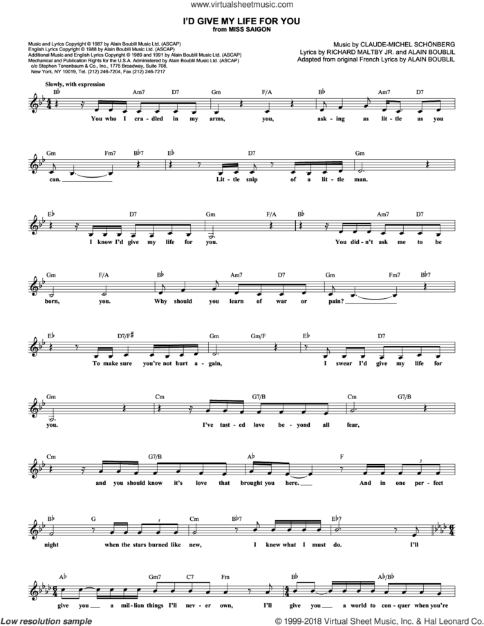 I'd Give My Life For You (from Miss Saigon) sheet music for voice and other instruments (fake book) by Claude-Michel Schonberg, Miss Saigon (Musical), Alain Boublil, Boublil and Schonberg and Richard Maltby, Jr., intermediate skill level