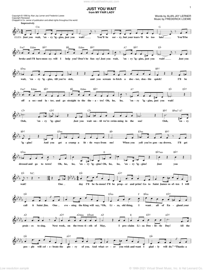 Just You Wait sheet music for voice and other instruments (fake book) by Lerner & Loewe, My Fair Lady (Musical), Alan Jay Lerner and Frederick Loewe, intermediate skill level