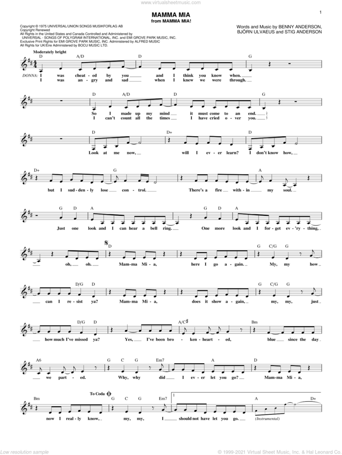 Mamma Mia sheet music for voice and other instruments (fake book) by ABBA, Mamma Mia! (Musical), Benny Andersson, Bjorn Ulvaeus and Stig Anderson, intermediate skill level
