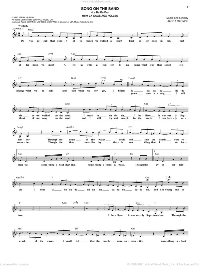 Song On The Sand (La Da Da Da) sheet music for voice and other instruments (fake book) by Jerry Herman, intermediate skill level