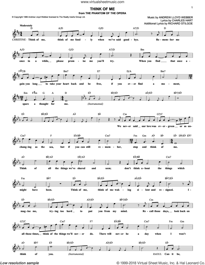 Think Of Me (from The Phantom Of The Opera) sheet music for voice and other instruments (fake book) by Andrew Lloyd Webber, The Phantom Of The Opera (Musical), Charles Hart and Richard Stilgoe, intermediate skill level