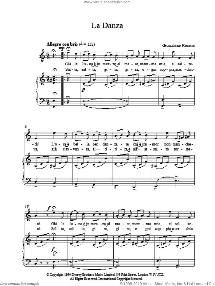 LaDanza sheet music for voice, piano or guitar by Gioacchino Rossini, classical score, intermediate skill level