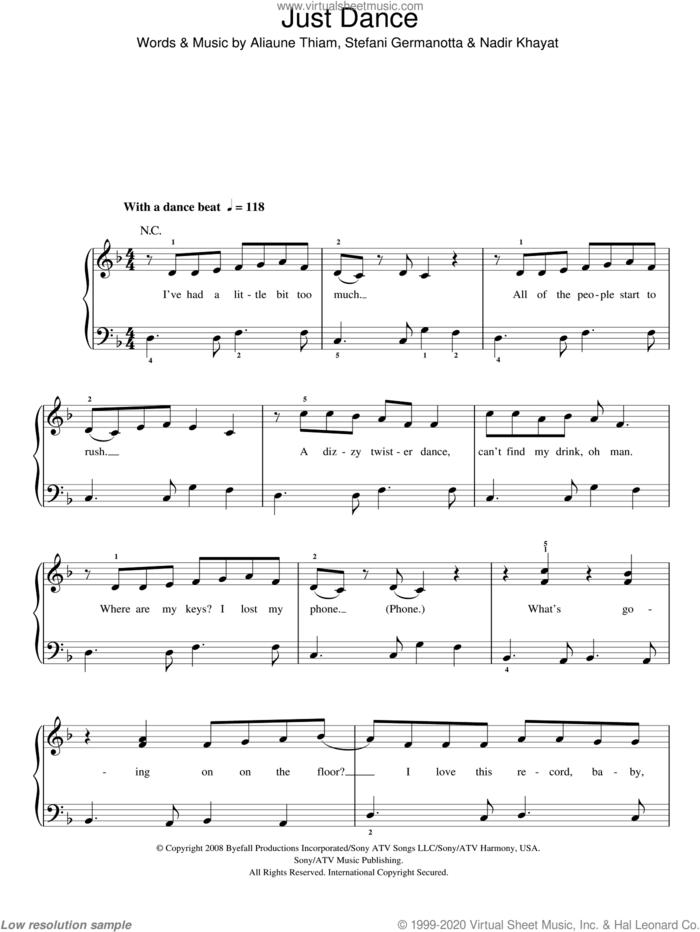 Just Dance, (easy) sheet music for piano solo by Lady GaGa, Aliaune Thiam and Nadir Khayat, easy skill level
