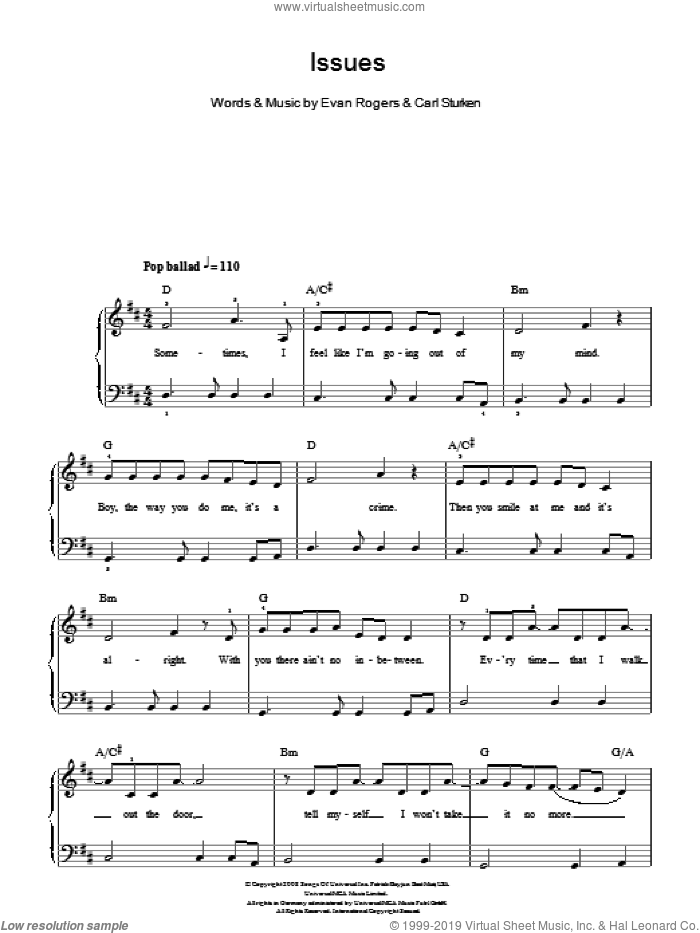 Issues sheet music for piano solo by The Saturdays, Carl Sturken and Evan Rogers, easy skill level