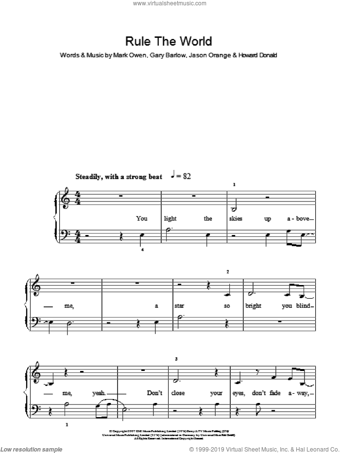 Rule The World sheet music for piano solo by Take That, Gary Barlow, Howard Donald, Jason Orange and Mark Owen, easy skill level