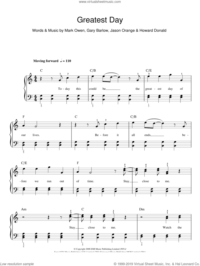Greatest Day sheet music for piano solo by Take That, Gary Barlow, Howard Donald, Jason Orange and Mark Owen, easy skill level