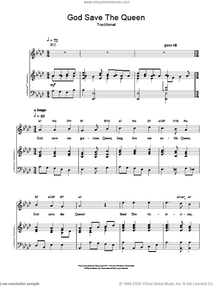 God Save The Queen (UK National Anthem) sheet music for voice, piano or guitar, intermediate skill level