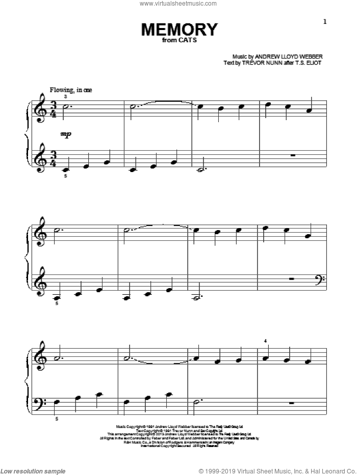 Memory (from Cats) sheet music for piano solo (big note book) by Andrew Lloyd Webber and Cats (Musical), easy piano (big note book)