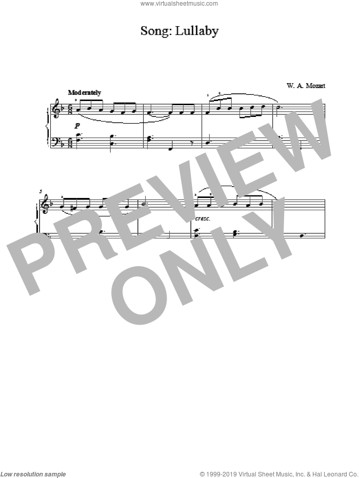 Song: Lullaby sheet music for piano solo by Wolfgang Amadeus Mozart, classical score, intermediate skill level