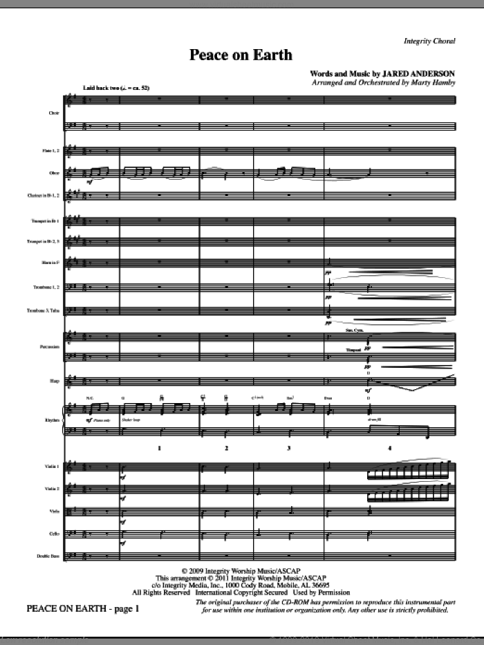 Peace On Earth (complete set of parts) sheet music for orchestra/band (Orchestra) by Jared Anderson and Marty Hamby, intermediate skill level