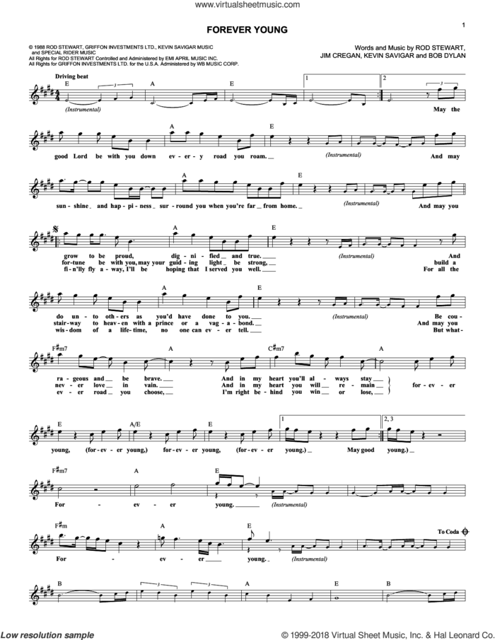 Forever Young sheet music for voice and other instruments (fake book) by Rod Stewart, Bob Dylan, Jim Cregan and Kevin Savigar, intermediate skill level