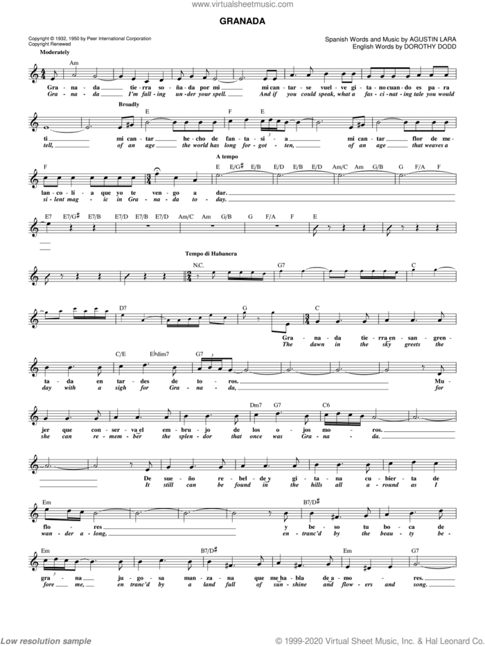 Granada sheet music for voice and other instruments (fake book) by Agustin Lara, intermediate skill level