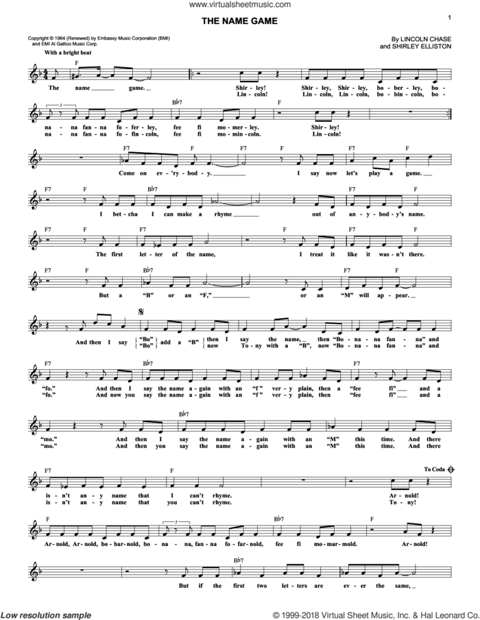 The Name Game sheet music for voice and other instruments (fake book) by Shirley Ellis, Lincoln Chase and Shirley Elliston, intermediate skill level