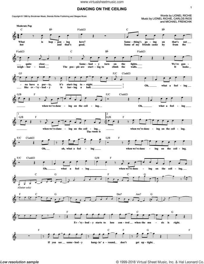 Dancing On The Ceiling sheet music for voice and other instruments (fake book) by Lionel Richie, Carlos Rios and Michael Frenchik, intermediate skill level