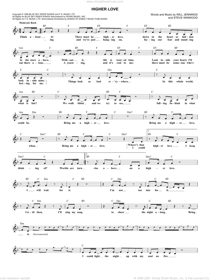 Higher Love sheet music for voice and other instruments (fake book) by Steve Winwood and Will Jennings, intermediate skill level