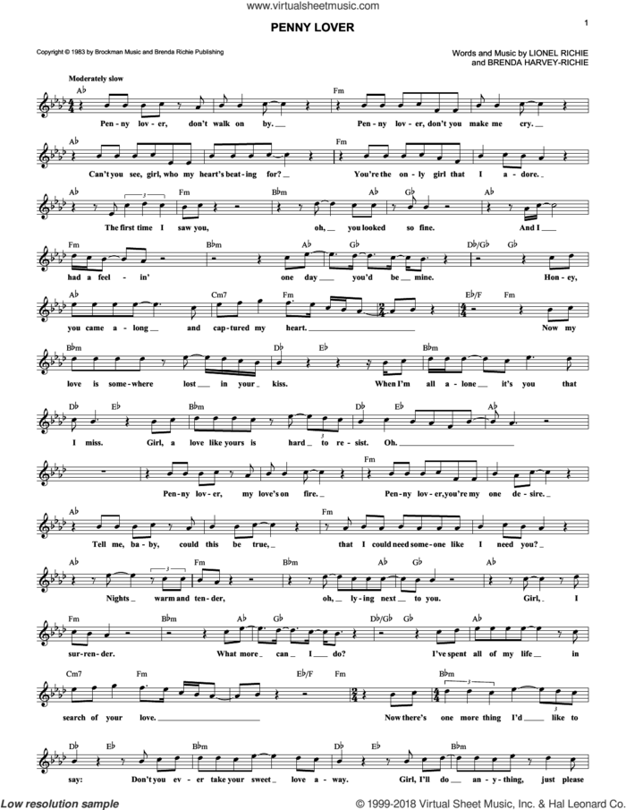 Penny Lover sheet music for voice and other instruments (fake book) by Lionel Richie and Brenda Harvey-Richie, intermediate skill level