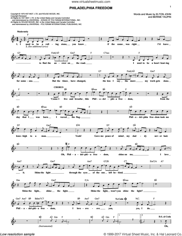 Philadelphia Freedom sheet music for voice and other instruments (fake book) by Elton John and Bernie Taupin, intermediate skill level