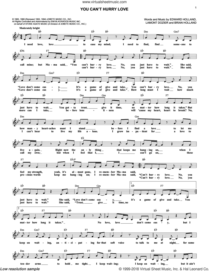 You Can't Hurry Love sheet music for voice and other instruments (fake book) by The Supremes, Brian Holland, Eddie Holland and Lamont Dozier, intermediate skill level