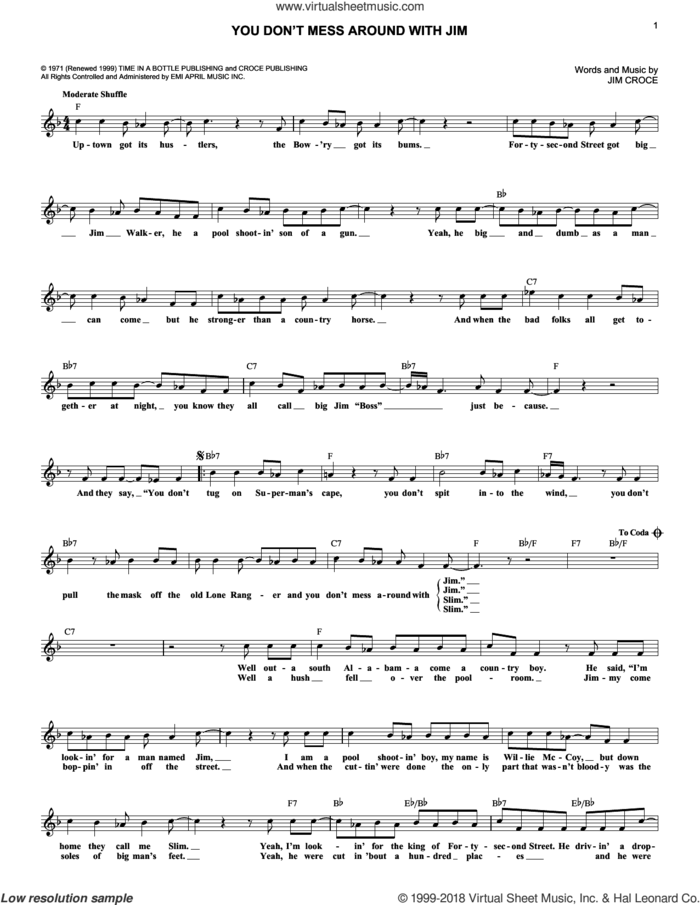 You Don't Mess Around With Jim sheet music for voice and other instruments (fake book) by Jim Croce, intermediate skill level