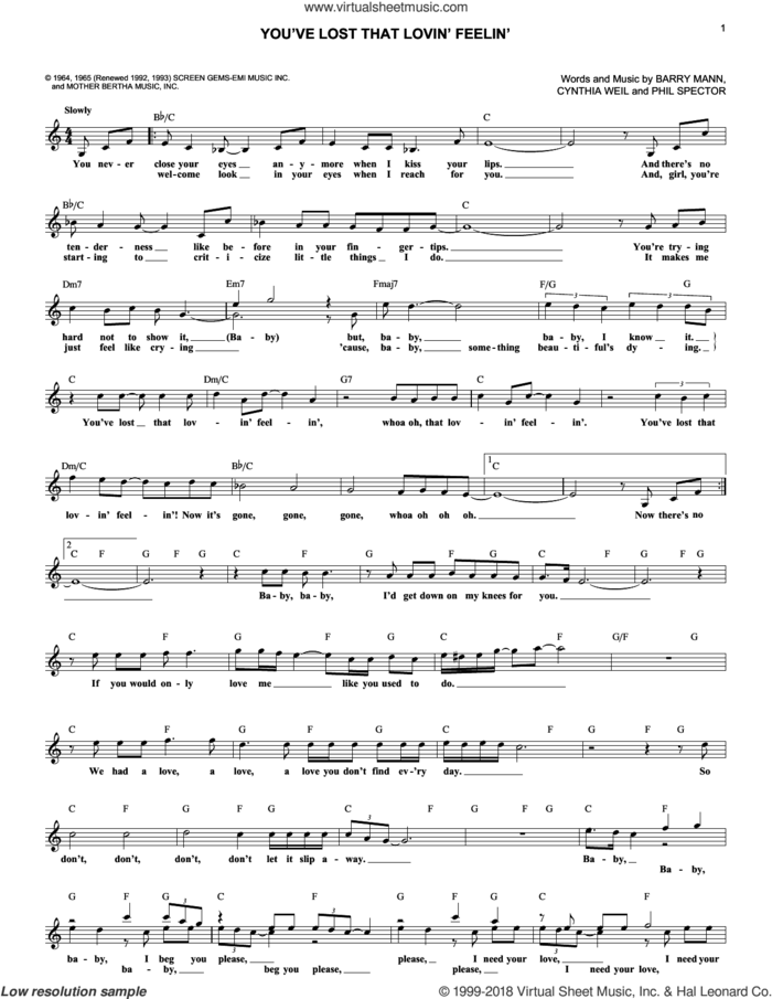 You've Lost That Lovin' Feelin' sheet music for voice and other instruments (fake book) by Elvis Presley, The Righteous Brothers, Barry Mann, Cynthia Weil and Phil Spector, intermediate skill level