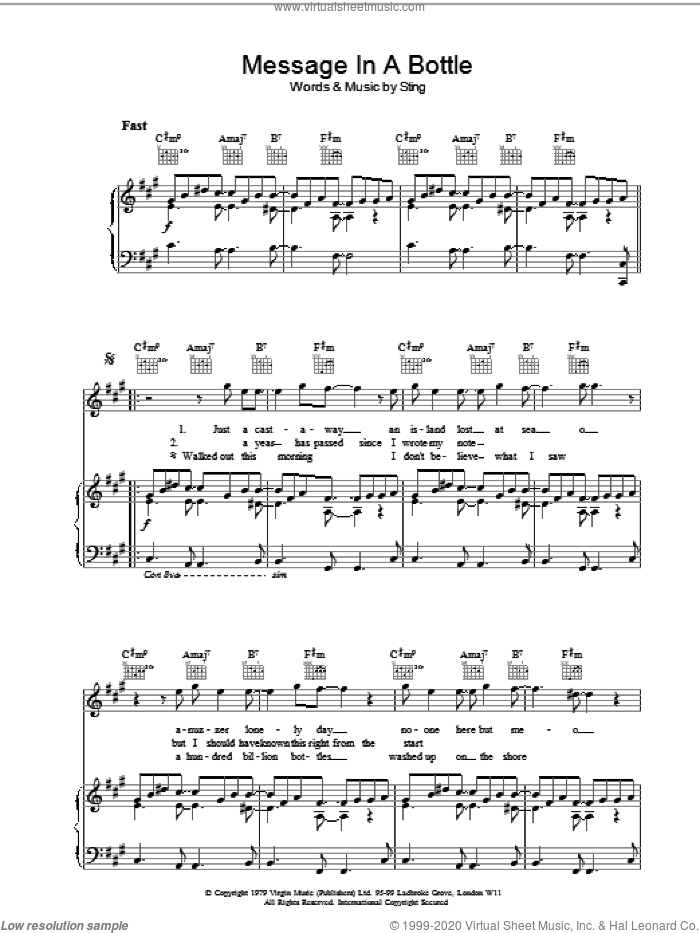 Message In A Bottle sheet music for voice, piano or guitar by The Police and Sting, intermediate skill level