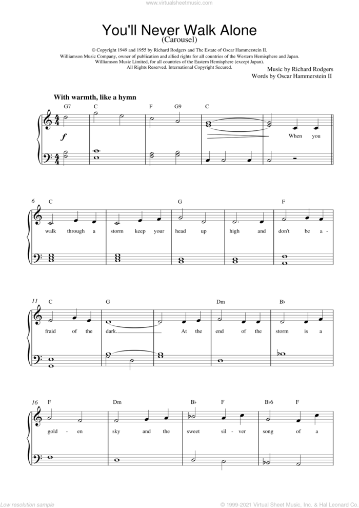You'll Never Walk Alone (from Carousel) sheet music for piano solo by Rodgers & Hammerstein, Carousel (Musical), Oscar II Hammerstein and Richard Rodgers, wedding score, easy skill level
