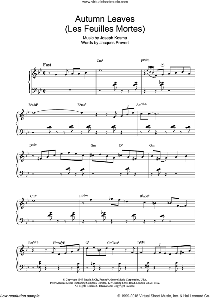 Autumn Leaves (Les Feuilles Mortes) sheet music for piano solo by Bill Evans, intermediate skill level