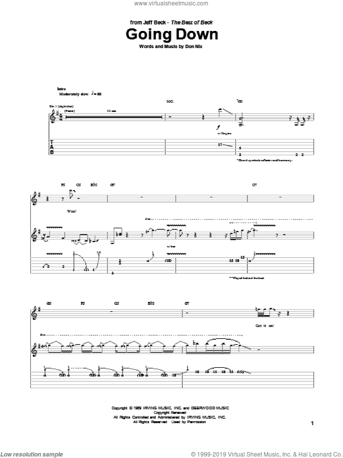 Going Down sheet music for guitar (tablature) by Jeff Beck and Don Nix, intermediate skill level