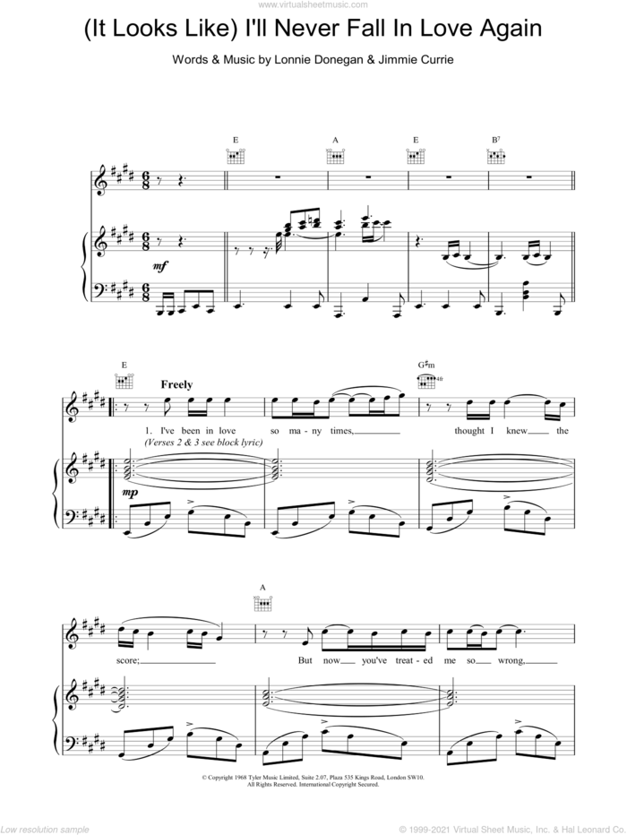 (It Looks Like) I'll Never Fall In Love Again sheet music for voice, piano or guitar by Tom Jones, CURRIE and DONEGAN, intermediate skill level