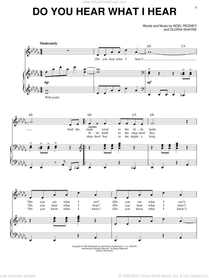 Do You Hear What I Hear sheet music for voice and piano by Bobby Vinton, Gloria Shayne and Noel Regney, intermediate skill level