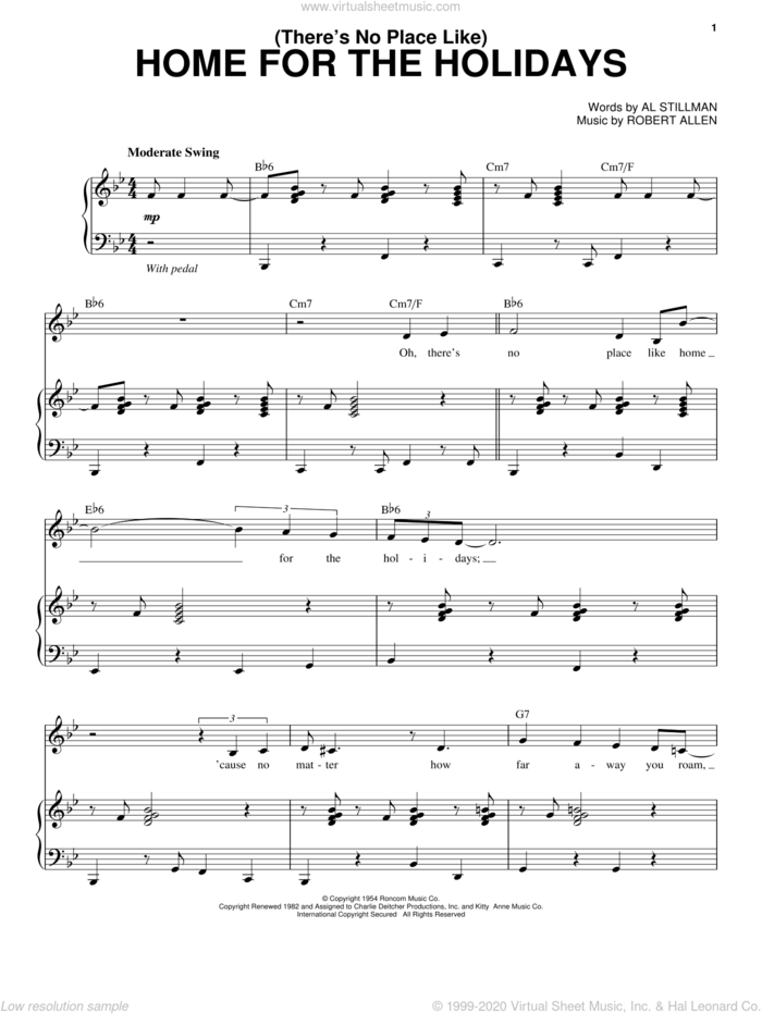 (There's No Place Like) Home For The Holidays sheet music for voice and piano by Robert Goulet, Perry Como, Al Stillman and Robert Allen, intermediate skill level