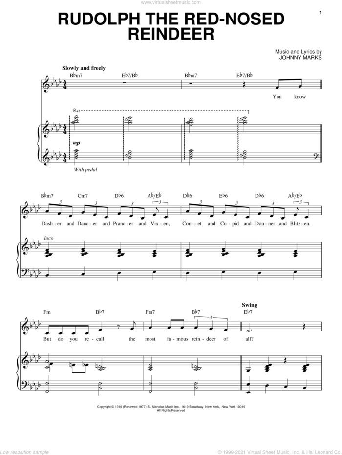 Rudolph The Red-Nosed Reindeer sheet music for voice and piano by Gene Autry and Johnny Marks, intermediate skill level