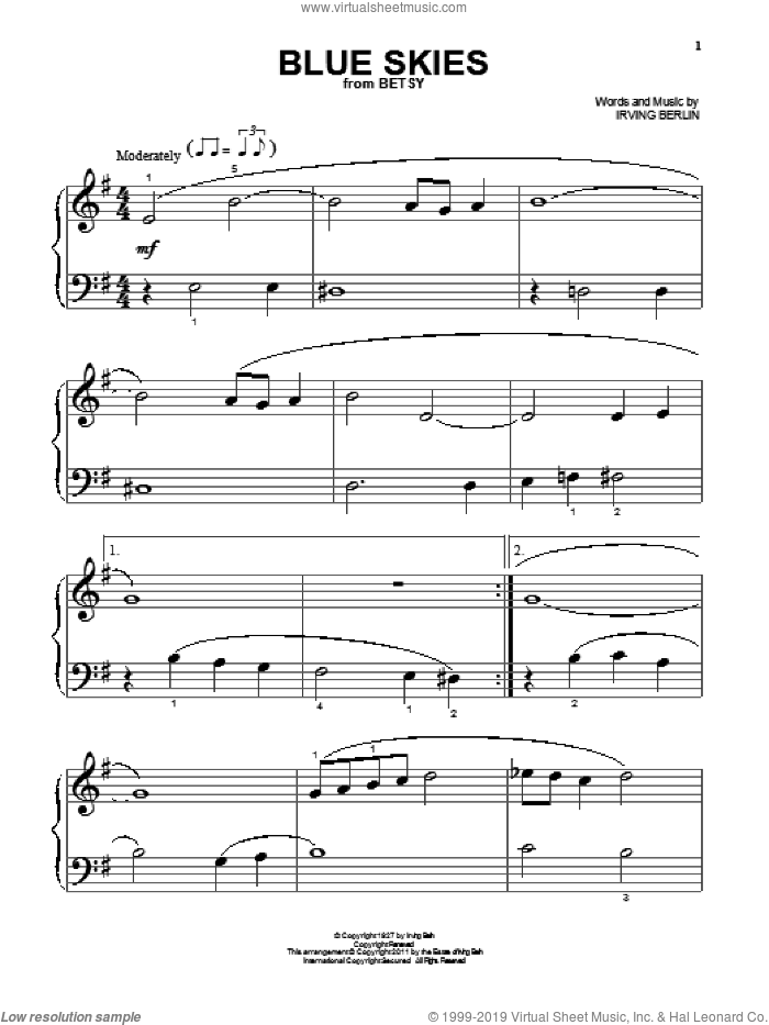 Blue Skies sheet music for piano solo (big note book) by Irving Berlin, easy piano (big note book)