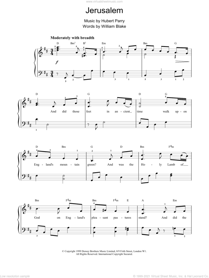 Jerusalem sheet music for voice, piano or guitar by Hubert Parry and William Blake, intermediate skill level