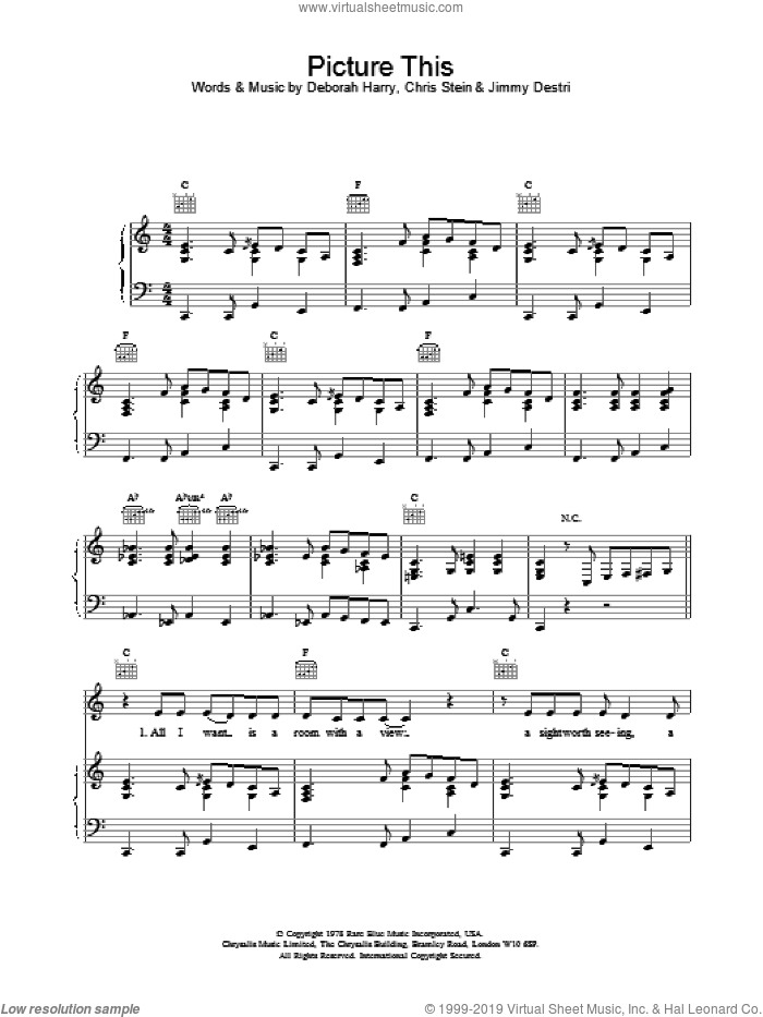 Picture This sheet music for voice, piano or guitar by Blondie, Chris Stein, Deborah Harry and Jimmy Destri, intermediate skill level