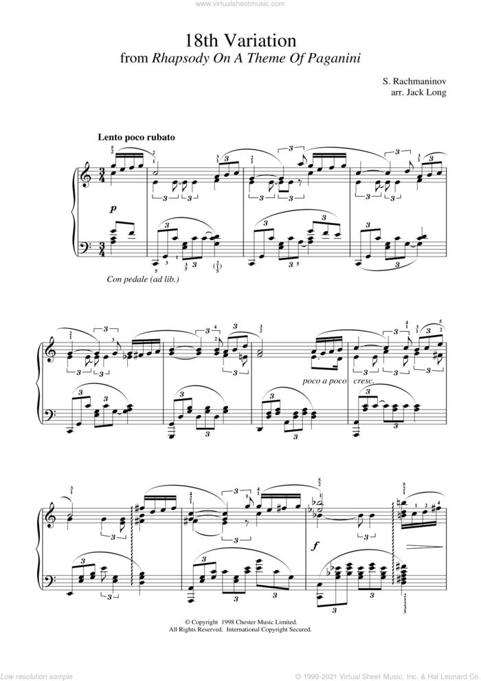 18th Variation sheet music for piano solo by Serjeij Rachmaninoff, classical score, intermediate skill level