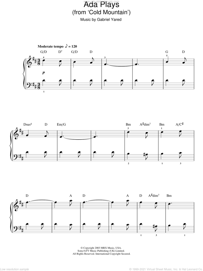 Ada Plays, (easy) sheet music for piano solo by Gabriel Yared and Cold Mountain (Movie), easy skill level